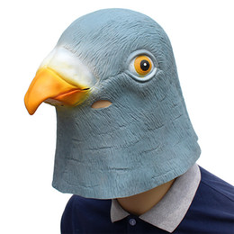 Costumi da piccione online-Pigeon Head Mask 3D Latex Prop Animal Costume Cosplay Party Halloween Carnival Theatre Costume
