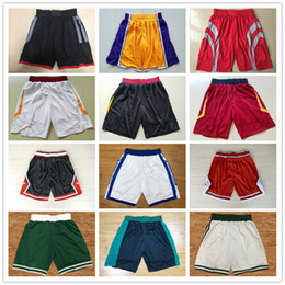Wholesale Golden Beige - HOT SALE 2018 New Season Authentic Running Basketball Jersey Shorts CLEVELAND BOSTON HUSTON GOLDEN STATE Men Short Jerseys