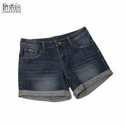 Wholesale high waist korean button jeans - 2017 New Korean Version Summer Spring Women's Jeans Vintage Shorts Fashion Leisure High Waist Denim Shorts Plus Size JYF Brand