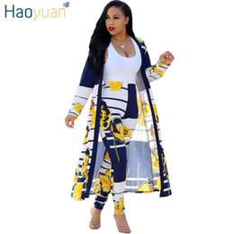 82c96908dcb HAOYUAN 2 Piece Set Women 2018 Plus Size Cardigan Long Trench Top And  Bodycon Pants Suit Casual Clothes Summer Two Piece Outfits