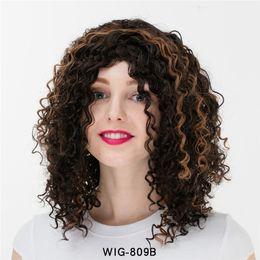 Milho americano on-line-Nova europeu e americano peruca feminina grande onda curta curly corn peruca explosão quente cabeça cospaly peruca