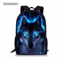 ragazzi scuola ragazze ragazze Sconti TWOHEARTSGIRL Wolf Print Schoolbags per bambini Fresco Studente Kids Bookbags infantil Animal Teenager Girls School Bag