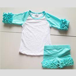 Wholesale Girls Summer Leggings - Aqua Blue Little Baby Girls 2 Pieces Set Icing Ruffle Raglan Shirts Little Girl Short Triple ruffled Leggings