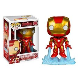 Wholesale Iron Man Funko - Funko Pop Iron Man Mark 43 Avengers Age of Ultron Bobble Head Vinyl Action Figure with Box #66 Toy Gift