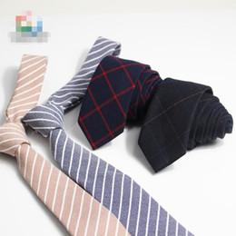 Nueva moda Corbatas para hombre Casual Cotton Tie 6cm Café estrecho Corbatas de rayas marrones para hombres Dropship desde fabricantes