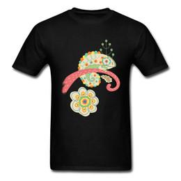 2018 Camaleão Alterar Cores Novidade Dos Desenhos Animados T-shirt Para Homens Presente de Ação De Graças Dia Personalizado Top Tees Floresta Flor supplier chameleon gifts de Fornecedores de chameleon presentes