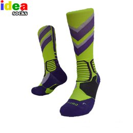 Высокие носки онлайн-New Fashion Elite Thick Knee Hight Basket Cotton Socks Man Elite Crew Long Professional Socks Compression