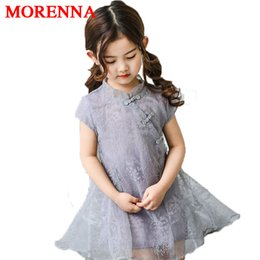 Wholesale Chinese Mini Dresses - MORENNA 2018 New Summer Girls Chinese Style Dress Children's Lace cheongsam Chinese clothing Cute Princess Pint Dresses Free Shipping