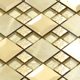 Wholesale Wallpaper Golden - Golden Luxurious Decoration Metal mix Crystal Glass Mosaic Tiles for Entrance-hall Front Door Shopping Mall Fireplace Decor