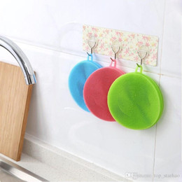 Wholesale kitchen hot pads - Hot Magic Silicone Dish Bowl Cleaning Brushes Scouring Pad Pot Pan Wash Brushes Cleaner Kitchen XL-320