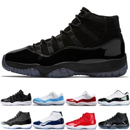 Wholesale Mens Gowns - 2018 New Cap and Gown Prom Night Mens 11 11s Trainers Basketball Shoes Iridescent UNC Gym Red Space Jam 45 Concord Sports Sneakers