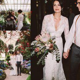 Wholesale Kate Wedding Dresses - Sheath Wedding Dresses Kate Middleton in Jenny Packham Lace Boho Long Sleeve with Belt Elegant V-neck Full Back country Bridal Wedding Gowns