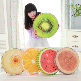 Wholesale movies office - Wholesale- 40cm Creative Personality 3D Fruit Orange Kiwi watermelon stump office Sofa Cushion plush Stuffed Toy Pillow kids birthday gift
