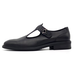 Wholesale Business Sandals - Fashion Hot Black Mens Hook Cover toe Sandals Italian Style Leather Formal Business Shoes