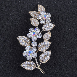 afdbea2f7 Leaf Flower Large Pins and Brooches for Women Men Suit Dress Crystal  Rhinestone Lapel Pin Broches Jewelry on sale
