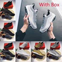 Wholesale Fabric Flat Shoes - With Box Air 97 Running Shoes x Undefeated UNDFTD Gold Silver Bullet Triple white balck Metallic Mens women Casual Sports Sneakers Eur 36-46