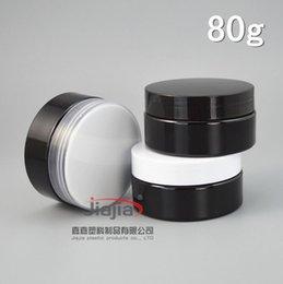 recipientes de cera de plástico Desconto 80ml frasco de PET preto com tampa clara / preto / branco de plástico, o recipiente vazio para denominar cera de 80 g de creme frasco de PET Embalagem