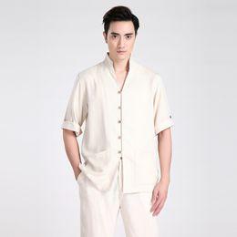 Hommes cheongsam en Ligne-Shanghai Story homme vêtements traditionnels Half Sleeve Cheongsam Shirt chinois traditionnel hommes vêtements cheongsam top