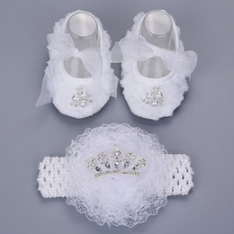 Wholesale Girls Baptism Shoes - 2016 New Style Rhinestone Imperial Crown Newborn Baby Shoes Headband Set ,White Baptism Baby Girl Shoes ,Toddler First Walkers