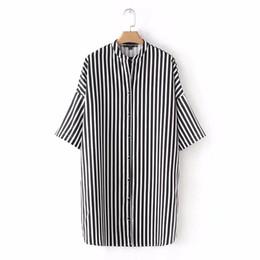 Wholesale Womens Dresses Three Quarter Sleeve - 2018 fashion women Loose Shirtwaister Striped dress Casual Three Quarter sleeve dresses Womens Clothing vestidos D1307