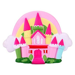 Wholesale house home toys - Castle Squishy Toy Cartoon House Soft Squeeze Slow Rising Decompression Toys Phone Charms Home Dector Kids Gift