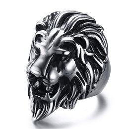 Wholesale Black Costume Jewelry Rings - Punk lion's Head Ring For Men Vintage Fashion Jewelry 316l Stainless Steel Finger Ring Retro Style Costume Accessories