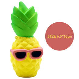 Wholesale Wholesale Kid Sunglasses - Squishy 16cm Cute Pineapple Squishy Sunglasses Decompression Jumbo Scented Simulation Squishies Decoration Kids Toy Glasses Squeeze Gift