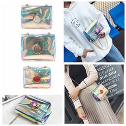 Wholesale jelly chain beach bags - Women Laser PVC Chain Shoulder Bag Flap Beach Bag Summer Jelly Bag Shoulder Messenger Crossbody Mini Tote KKA5044