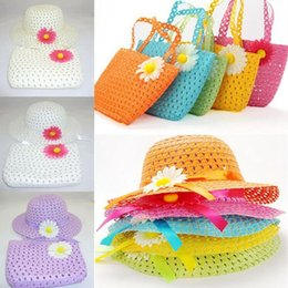 Wholesale Beach Hats Bags - Girls Kids Beach Hats Bags Flower Straw Hat Cap Tote Handbag Bag Suit Children Summer Sun Hat
