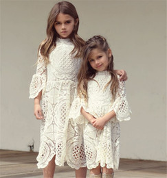 Wholesale tutus korea - Girls Lace Ruffles Hollow Out Autumn Dress Western Fashion Vintage Korea Baby Clothing Lovely Kids Fall Clothes b11
