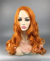 pelucas cosplay largas naranjas Rebajas Pelucas sintéticas anaranjadas de la onda larga del cuerpo pelucas sin pelo de Cosplay para las mujeres