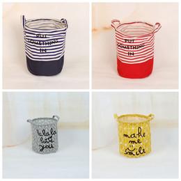 Wholesale Fabric Baskets Handles - Stripe Storage Baskets 27*23cm Bucket Kids Room Toys Bins Bags Cartoon Striple Handle Organizer Laundry Bag OOA4326