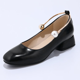 nude pearl shoes Coupons - Comfortable High Quality Patent Leather Pearl Metal Strap Black and Nude Women's Vintage Court Dress Casual Shoes