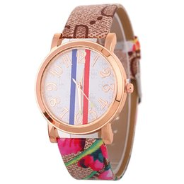 Wholesale National Stainless - 2018 new women National wind flower colorful printing leather watches wholesale fashion ladies casual dress quartz watches