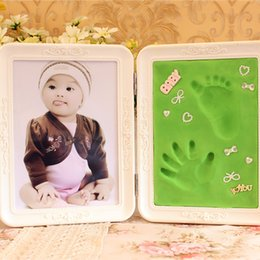 Wholesale Framed Baby Prints - Photo Frame Cute Soft Clay Imprint DIY Baby Footprint Hand Print Cast Set Gift For Home Decor