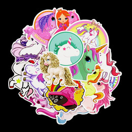 Wholesale kids car wall stickers - 30pcs Bardian Cartoon Wall Sticker Unicorn Horse Pattern Decals For Suitcase Skateboard Car PVC Stickers Decor Multi Colors 4 5sd YY