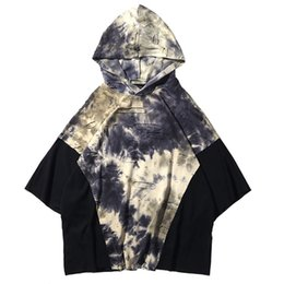 Wholesale Cotton Processing - Patchwork Hooded T-Shirts Men 2018 Summer Hip Hop Loose Casual Cotton Streetwear Special Process Men Tops Tees shirts