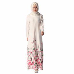 vestidos étnicos nuevos Rebajas Nuevo 2016 Ethnics musulmán para mujer moda Floral vestido Abaya Dubai vestido de estilo islámico de manga larga de las mujeres una línea de vestidos