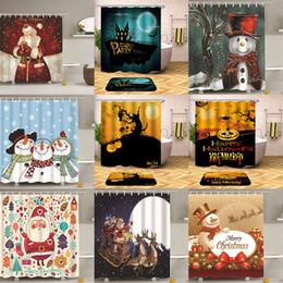 décorations 3d de bonhomme de neige santa Promotion Halloween Noël Bonhomme De Neige Père Noël 3D imprimer Salle De Bains Rideau De Douche Maison De Noël Décoration 180 * 165cm 140 styles C4899