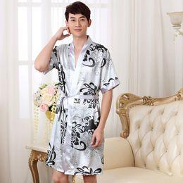 bata de seda de hombre Rebajas Camisón de verano Sleepshirts Hombres Kimono Robe Faux Silk vestido de baño ropa de dormir Lounge Casual Silky ropa de noche vestido femenino M-XXL