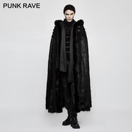 2019 черный капот мужчины мех PUNK RAVE Gothic Witch Long Bat Fur Cloak Halloween Black Knight  Men Long Fur Cloak with Hood Imitation Wool-grass Fabric