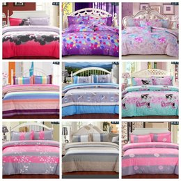 Wholesale Pink Purple Comforter - Wholesale-New Bedding Set Fashion Bed Sheet   Duvet Cover   Pillowcase Winter Cotton 4 Pcs Bed Set Comforter Bedding Sets A40-219