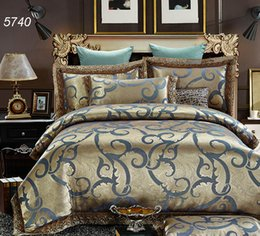 Wholesale Yellow Rose Comforter - Modal blue golden silk bedding sets tencel lace comforter cover pillowcases cotton bed sheet luxury home textile pretty 5740