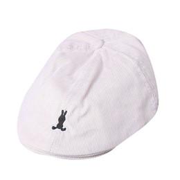 Baby boy newsboy mütze online-Kinder Hut Coon Baby Boy Mädchen Coon Streifen Mütze Mütze Zeitungsjungen Casque Baseball-Mütze