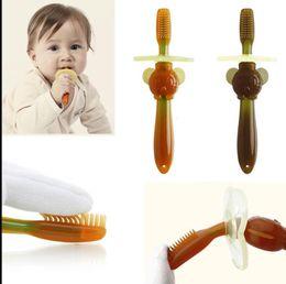 Wholesale children brushing teeth - Baby Teether Training Teeth Soft Toothbrush Brushids Teether Training Toothbrushes For Children Baby Infant Newborn Brush LJJK1037