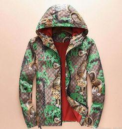 Wholesale Tiger Hooded Coat - Winter autumn flower tiger print jackets men new luxury brand windbreaker men high street men sport jacket coats free shipping