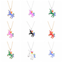 Wholesale Rainbow Links - Cute Enamel Unicorn Necklace Mixed 6 Colors Cartoon Rainbow Horse Choker Silver Gold Chain Childhood Necklaces&Pendants For Birthday Gifts