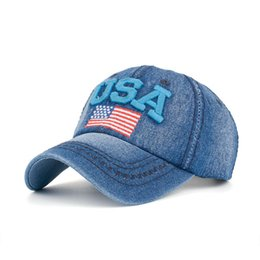 Wholesale Black Sun Flag - Free Shipping USA Flag Embroidery Denim Baseball Caps Men Women Adjustable Sun Hats High Quality Casquette For Adults