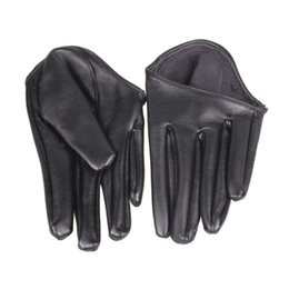 Wholesale Genuine Leather Gloves Wholesale - Women Genuine Leather Female Gloves Ms. Short Paragraph Fashion Half Palm Women's Gloves Lambskin Leather Glove Tide Performance