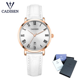 Wholesale Watchs Women - New Cadisen Hot Sale Brand Rose Gold New High Quality Auto Calendar Women Watchs Elegant Ladies Dress Quartz Wristwatch